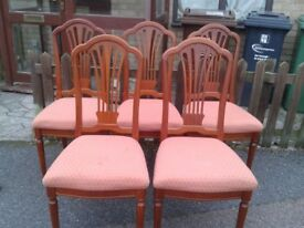 5 dining chairs, mahogany, Victorian style, carved back, cushion not clean but stable