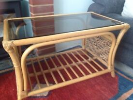 Glass to wicker coffee table