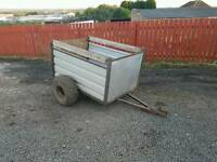 Quad atv trailer with rear loading ramp flotation tyres sheep livestock logs stables etc