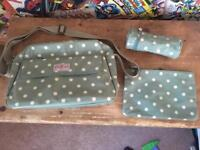 Cath Kidston olive spotty oil cloth nappy changing bag