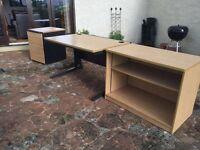 Desk; cabinet & set of drawers