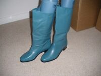 LEATHER BOOTS SIZE 7 BRAND NEW TEAL