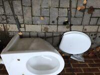Toilet pan and new seat - white