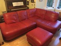 Red Leather 'L' Sofa with matching footstool