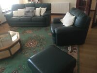 Super comfortable leather sofa, armchair, and large footstool!