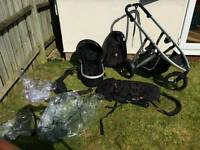 Phil & Teds double buggy with carrycot and extras