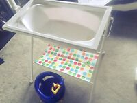 Baby bath stand and safety chair