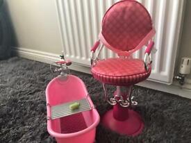 Our Generation Doll Bath and Hair Dressing Chair