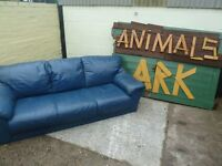 Blue Leather 3 Seat Sofa Delivery Available £ 20