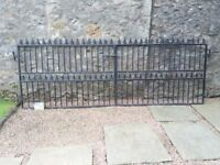 Wrought Iron Style Heavy Duty Metal Driveway Gates, Black. Fits 12 ft opening. Height 4ft 3 inches.