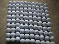 LOT of 100 WHITE GOLF BALLS - SRIXON; CALLAWAY; WILSON STAFF and TAYLOR MADE. GOOD CONDITION.
