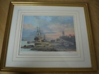 J L Chapman - Signed Limited Edition Print 'Sunset' in frame (boat/ship/horse/lighthouse)