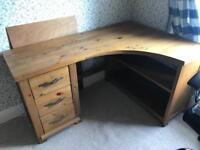 Hardwood corner desk
