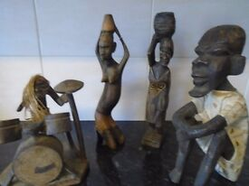 carved african wooden figuers x 4