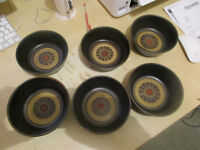 SIX Denby POTTERY Arabesque Hand Painted Stoneware Cereal Bowls......£25