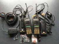 Two MOTOROLA GP680 WALKIE-TALKIES plus Charger 2 spare batteries & accesories.
