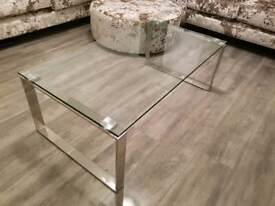 Coffee Table Glass, Stainless Steel