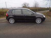 06 volkswagen golf 2.0 gt tdi 6 speed 140 b h pwr t diesel 5 dr black full s h 1 owner from new