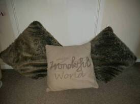 Set of 3 NEXT cushions wonderful world faux fur brown beige red grey