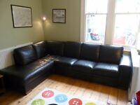 Contemporary Italian Leather Corner Sofa