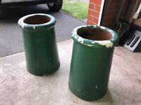 Two painted chimney pots