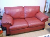 RED LEATHER 2 SEATER SOFA GREAT ORDER !!