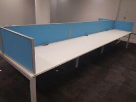 6-pod/bench office desk/tables