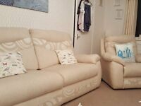 3 PIECE SUITE 2 YEAR OLD 1 owner non smoker no pets or children settee is recliner 2 chairs VGC
