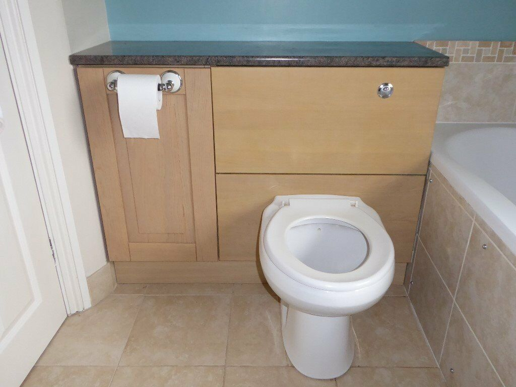Back to wall Toilet with oak effect storage cupboard  Back to wall Toilet  with oak. Toilet Cupboard