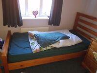 For Sale: modern pine single bed, 1.97l x .99m w x 1.05 m h(headboard)