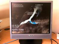 Sony 17 inch Flat Screen PC monitor with stand, power cable and pc cable.