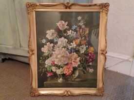 Vintage signed Barbara Shaw signed print 'Flowerpiece 1951' in Baroque style frame-Beautiful
