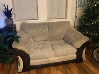 2 Seater Sofa - brushed cord and brown suede