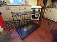 "Large dog crate: Fold-flat, 21.5 inches, W x 35.5"" L x 22"" H"
