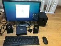 """Mini ASUS PC with 22"""" FHD Dell Monitor, ASUS wireless keyboard and mouse + Free Speakers"""