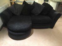 Black/Grey Sofa with Snuggle Seat Chair