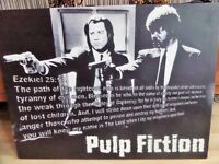 Pulp Fiction Movie With Quote Black & White Framed Stretched Canvas