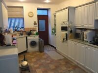 Used kitchen, white shaker style units. Includes all appliances and worktops. Large size kitchen.