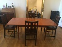 URGENT: Extendable wooden dining table and 4 chairs + 4 folding chairs (optional)