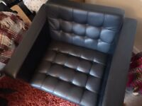 Black leather retro arm chairs x2