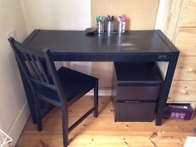 Black Ikea Table/Desk and Chair
