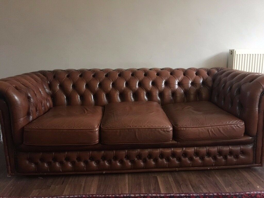 Vintage Chesterfield Sofa Brown Real Leather 3 Seater Nicely  ~ Chesterfield Brown Sofa