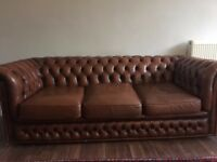 VINTAGE CHESTERFIELD SOFA BROWN REAL LEATHER 3 SEATER NICELY DISTRESSED STUDDED