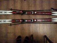 177cm Rossignol skis with poles vgc