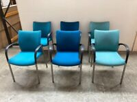 6 X FABRIC STACKING OFFICE CHAIRS, MEETING ROOM, CONFERENCE, CANTEEN, CAFE