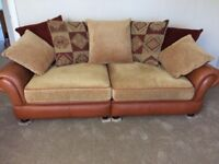 3 seater leather and fabric large suite. Pet, child and smoke free home