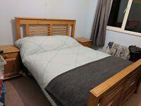 King-size Oak Design Bed & Side Cabinets