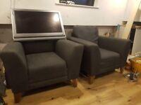 Two single arm chairs sofa