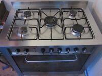 INDESIT freestanding gas electric range cooker 90cm stainless steel KP9507
