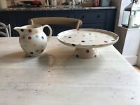 EMMA BRIDGEWATER POLKA DOT CAKE STAND AND JUG